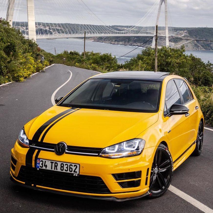 Yellow Golf 7 R Car Volkswagen Volkswagen Volkswagen Passat