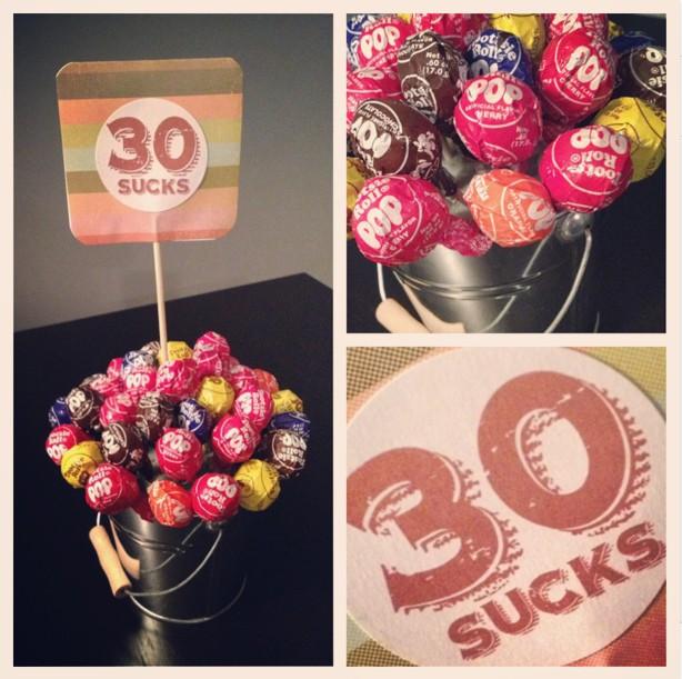 30th Birthday Gift, 30 Sucks, Centerpiece Idea.... Totally