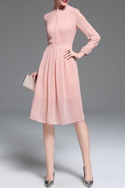 83c5619396 Chiffon Long Sleeve Midi Dress - PINK M