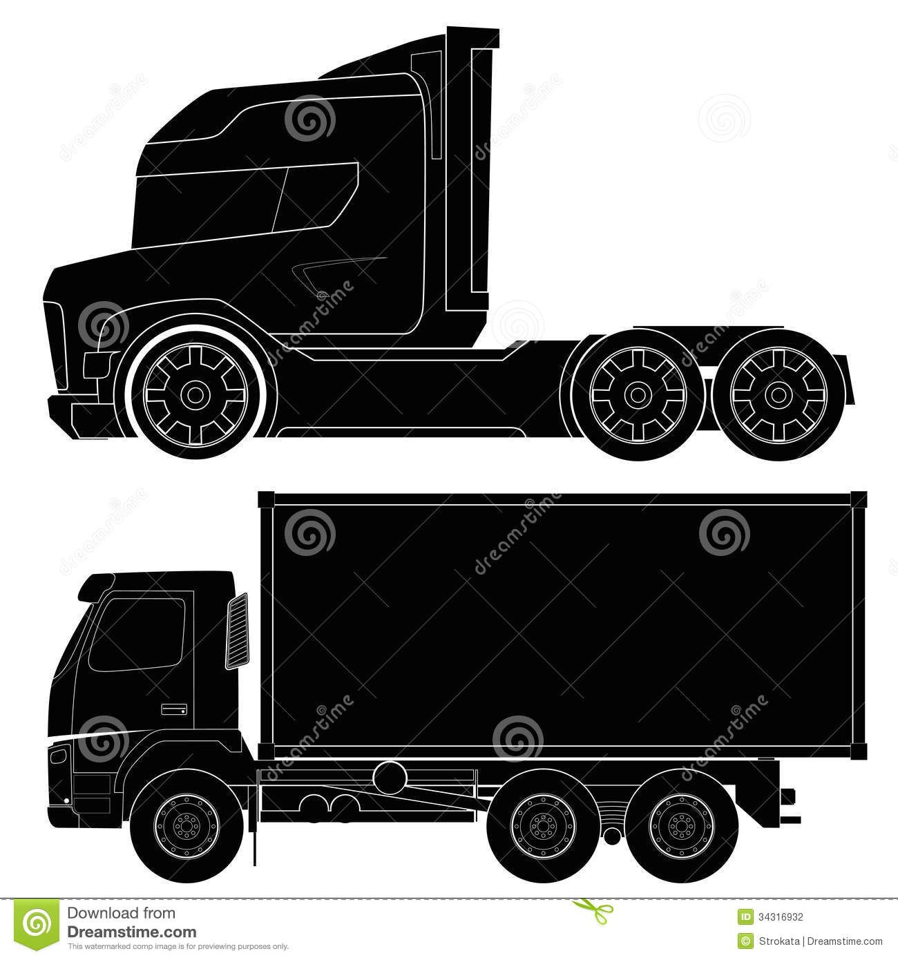 Vrachtwagen Vrachtwagens Silhouet Sjablonen