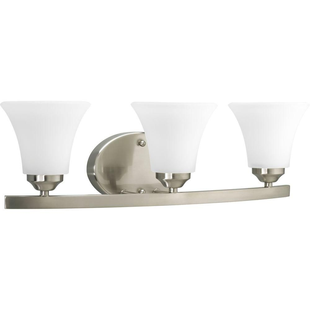 Photo of Progress Lighting Adorn Collection 3-light basin lamp in brushed nickel with glass shades P2010-09 – The Home Depot