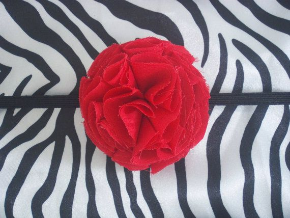 Red Shabby Chic Flower HeadbandFits Infant to by TheTrendyTotShop, $3.75