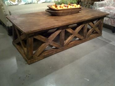 Excellent Milltown X Base Coffee Table With Wood Plank Top And Dark Short Links Chair Design For Home Short Linksinfo