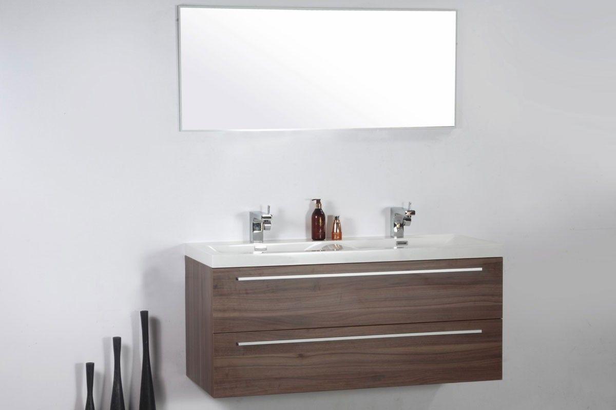 Meuble de salle de bain double vasques 120 cm miroir MILANO