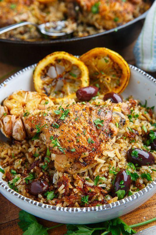 One Pan Greek Lemon Chicken Rice with Roast Garlic #greeklemonrice