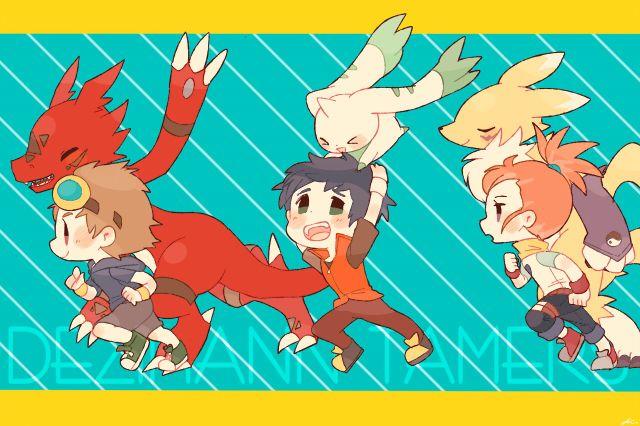 Takato, Henry, Rika, Guilmon, Terriermon, & Renamon !!