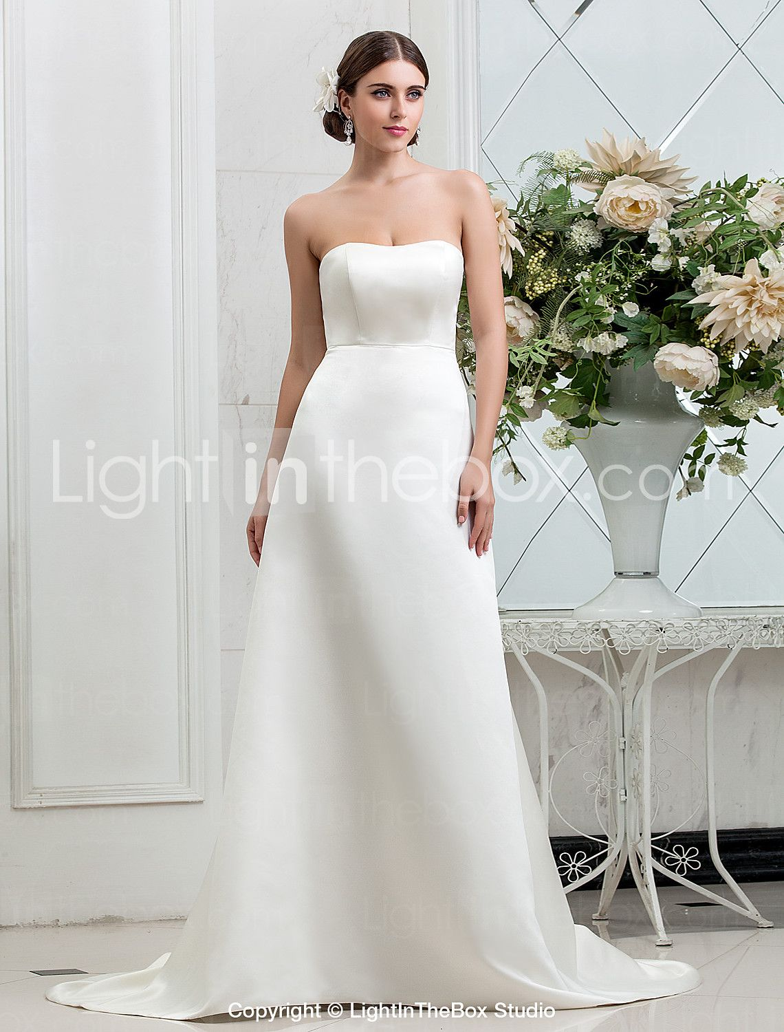 Lightinthebox wedding dresses  ALine Strapless Sweep  Brush Train Satin Wedding Dress with Button