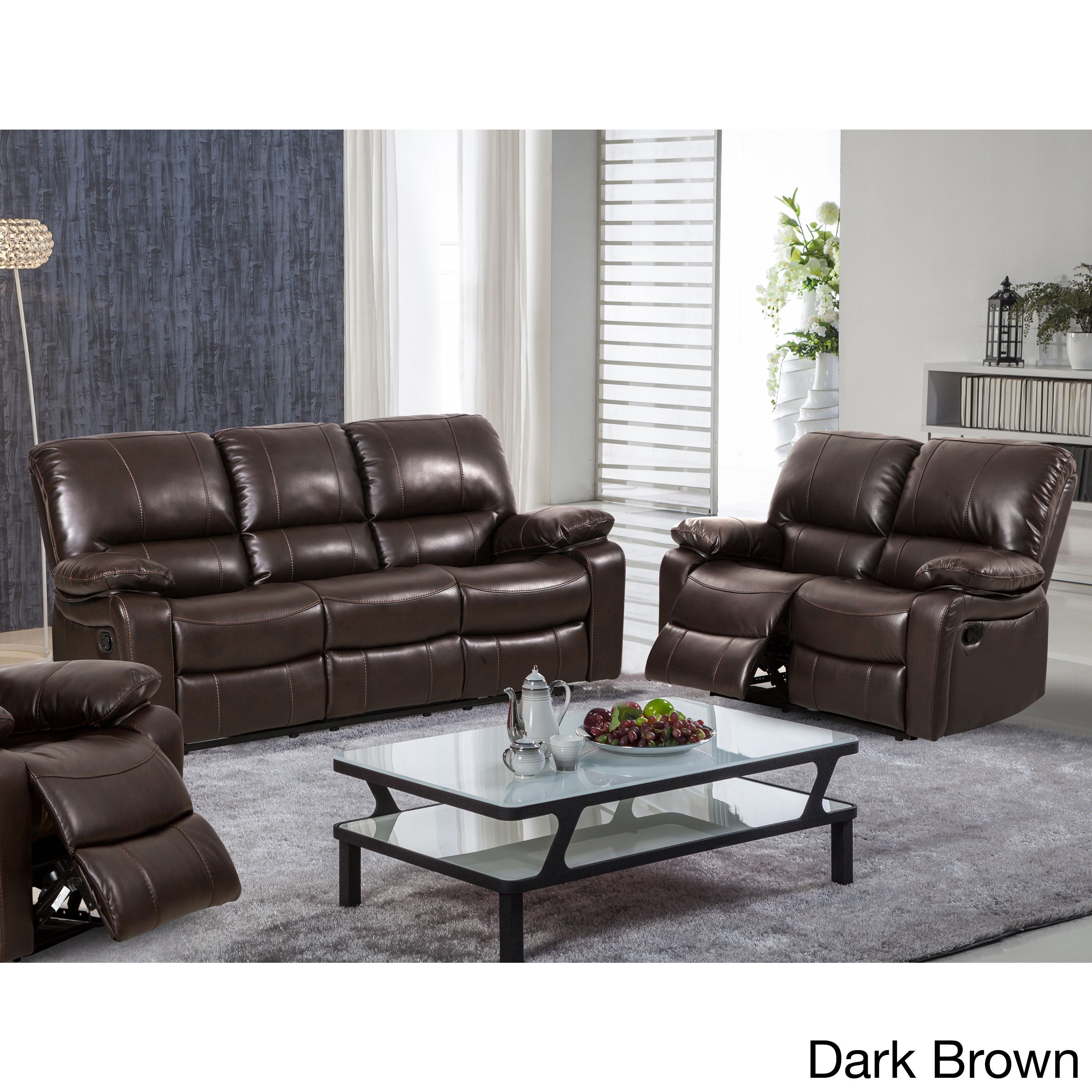 Samantha Leather Gel 2 Piece Reclining Sofa And Loveseat Living Room