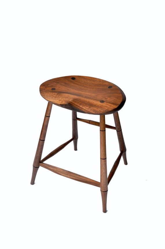 Four Legged Stool Hand Carved Seat Walnut Natural By Treebuilt