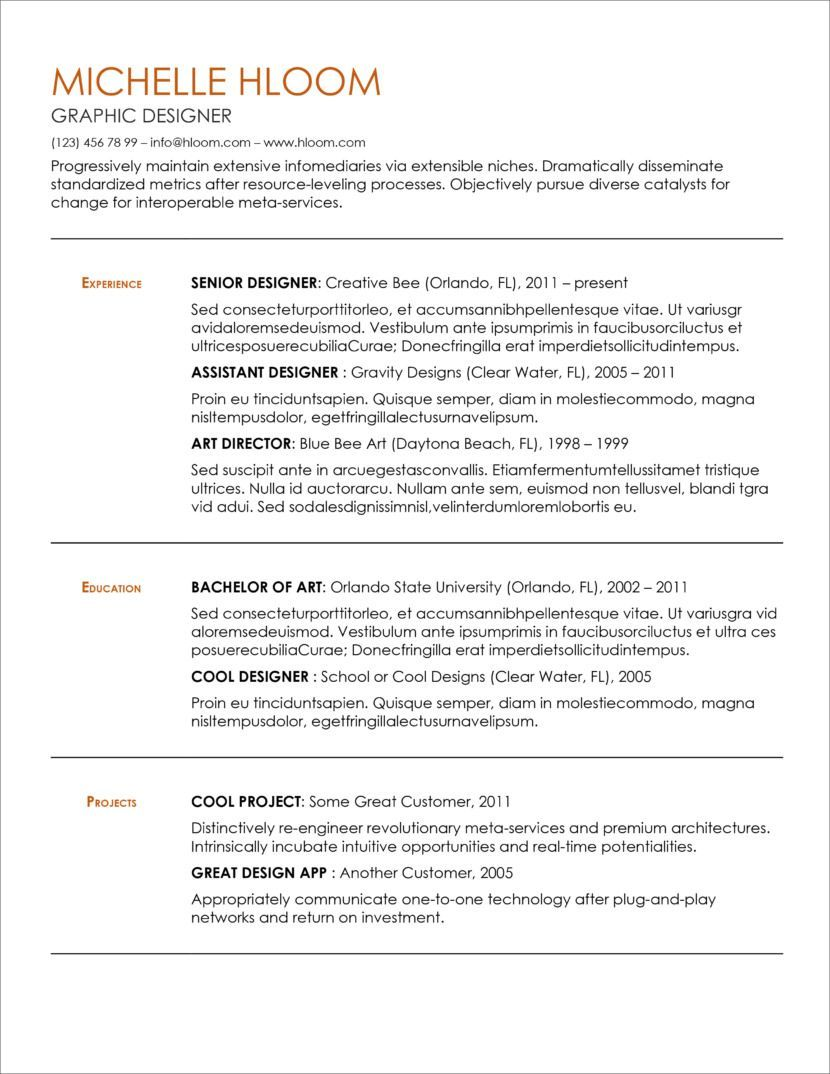 Downloadable resume template simple resume template