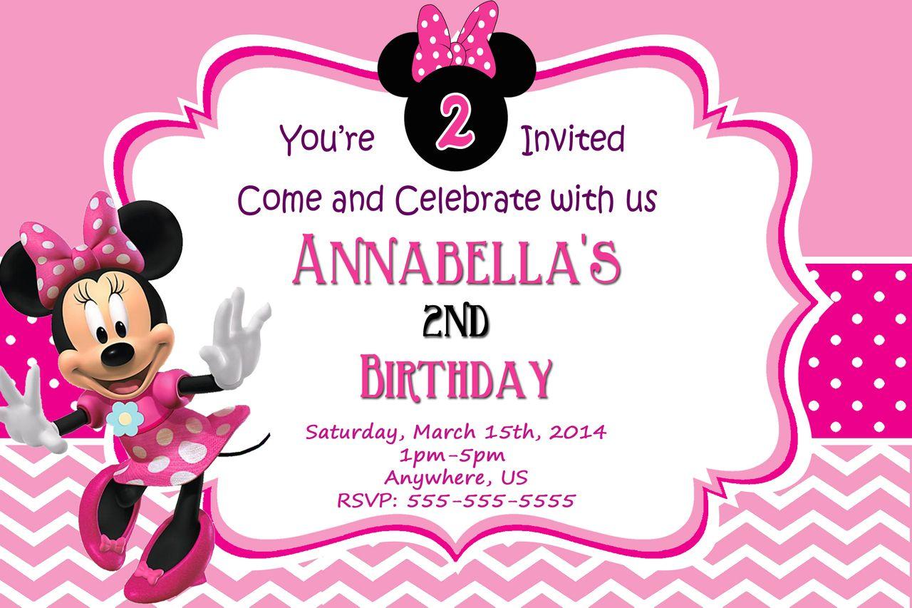 Pink Minnie Mouse Birthday Chevron Invitations Fiesta De