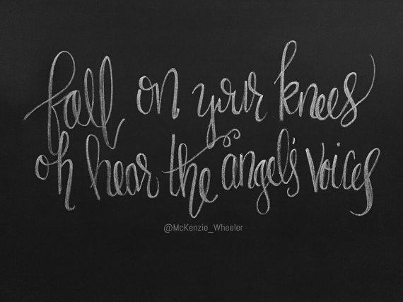 Hand Lettered Chalkboard Print - Fall on Your Knees - Digital File, 5x7, 8x10 - Lyric Print ...