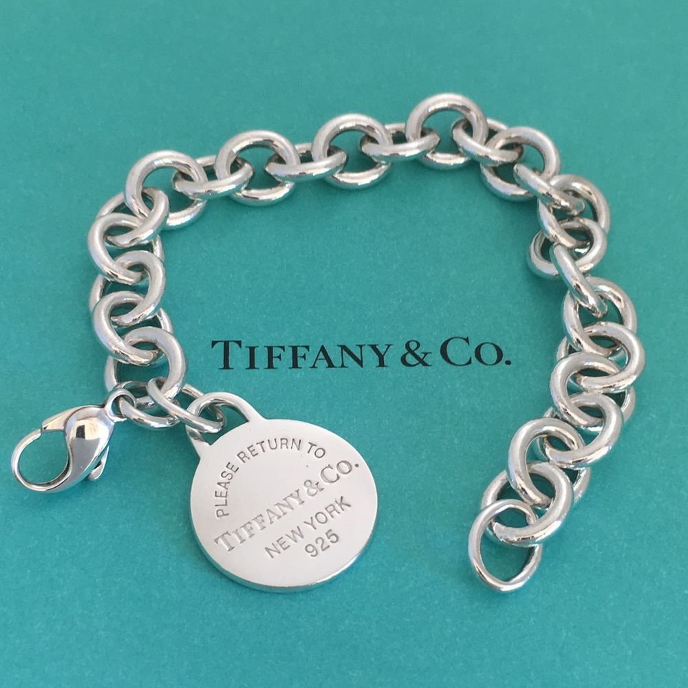 6135a0751 Please Return to Tiffany & Co Sterling Silver Rolo Link Round Charm Bracelet  (eBay Link