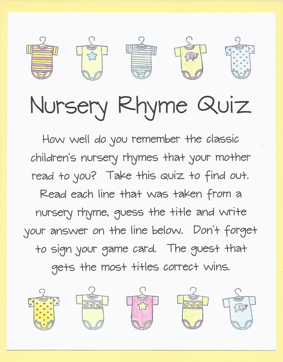 Nursery Rhyme Quiz   Baby Shower Game, Name The Nursery Rhyme Shower Game,  Remember The Nursery Rhyme Baby Shower Game, Book Lovers Showers