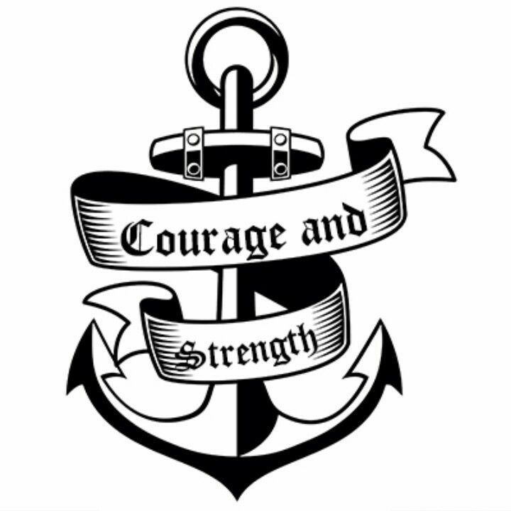 Courage And Strength Anchor Tattoo Design