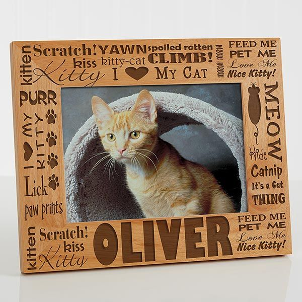 PERSONALIZED pet photo picture frame I LOVE MY CATS