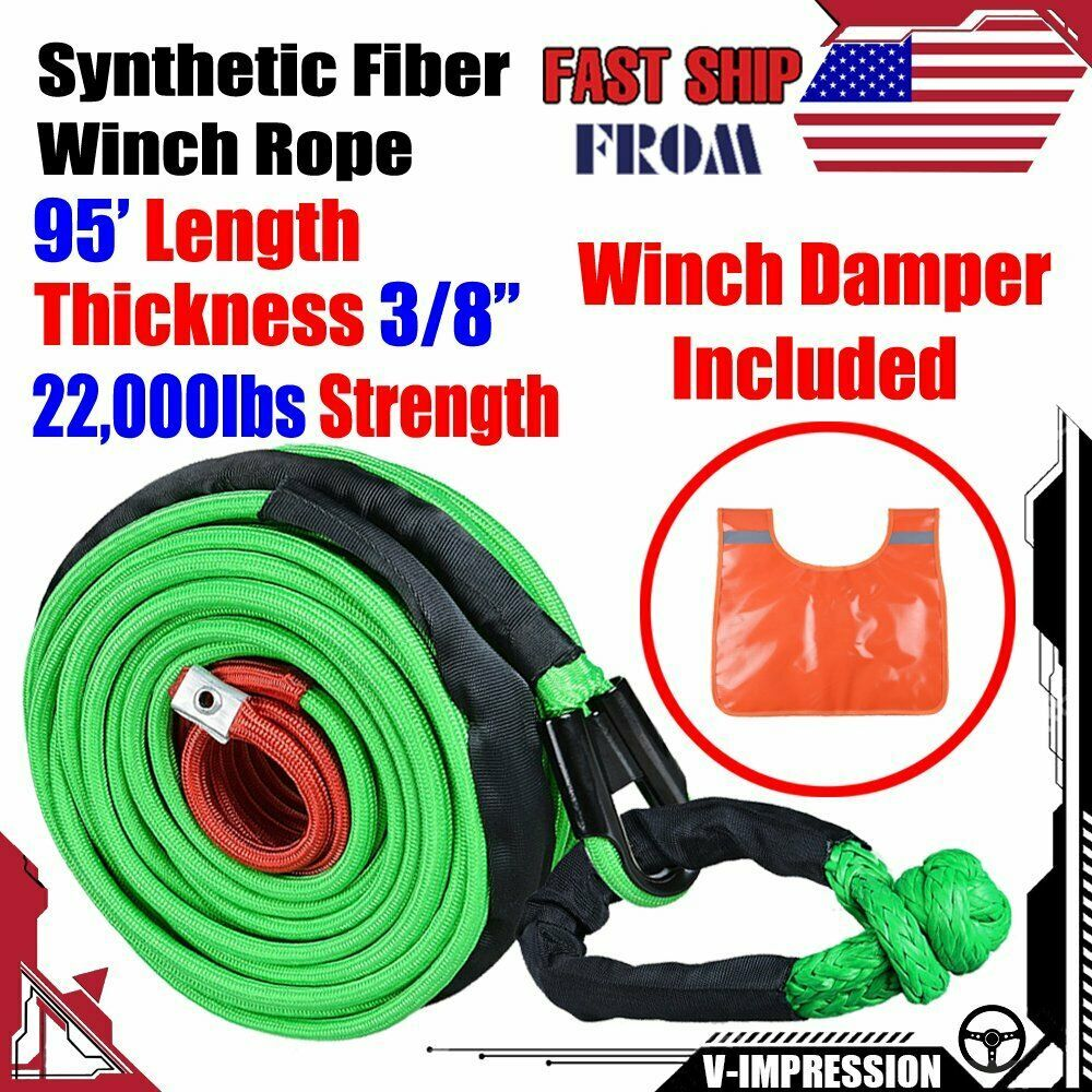 Sponsored Ebay 95 Synthetic Winch Rope 22000lbs 1 2 Soft Shackle Grn Safety Cable Damper Synthetic Winch Rope Winch Rope Winch