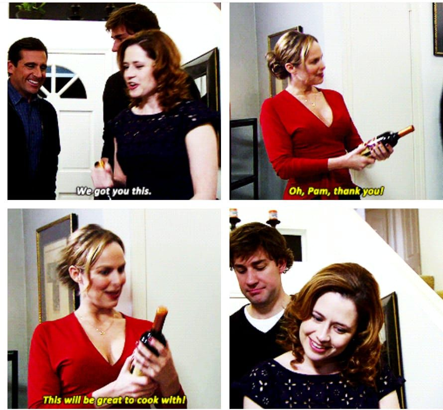 """Pam """"We got you this.""""Jan """"Oh Pam, thank you! This will"""