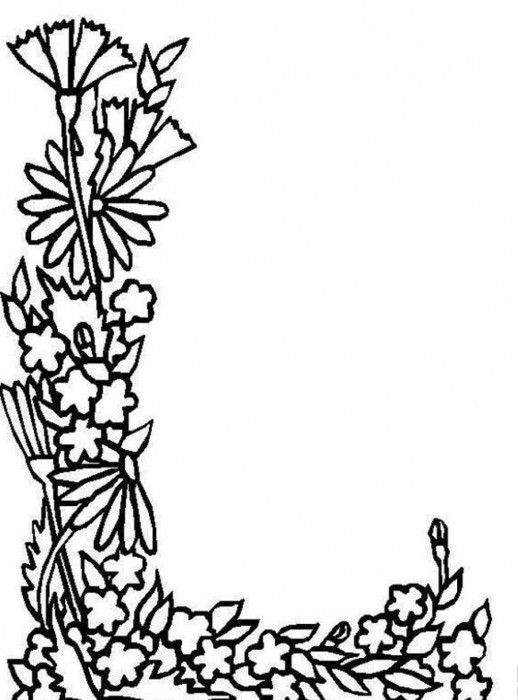 Flower Ribbon Shapes Letter L In Beautiful Alphabet Coloring Pages Free Printable Coloring Pages Flower Coloring Pages Flower Letters