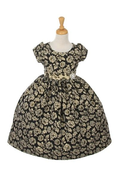 8ea644e5d47 Black   Gold Flower Girl DressA metallic flower printed jaccard dress with  a pretty A-line waist. This dress is available in two printed styles
