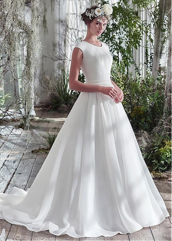 Sale $147 Chic Organza Satin Jewel Neckline A-line Wedding Dresses With Beadings