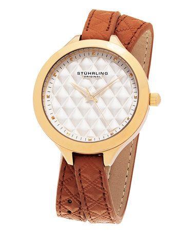 Gold & Brown Deauville Leather-Strap Watch #zulily #zulilyfinds