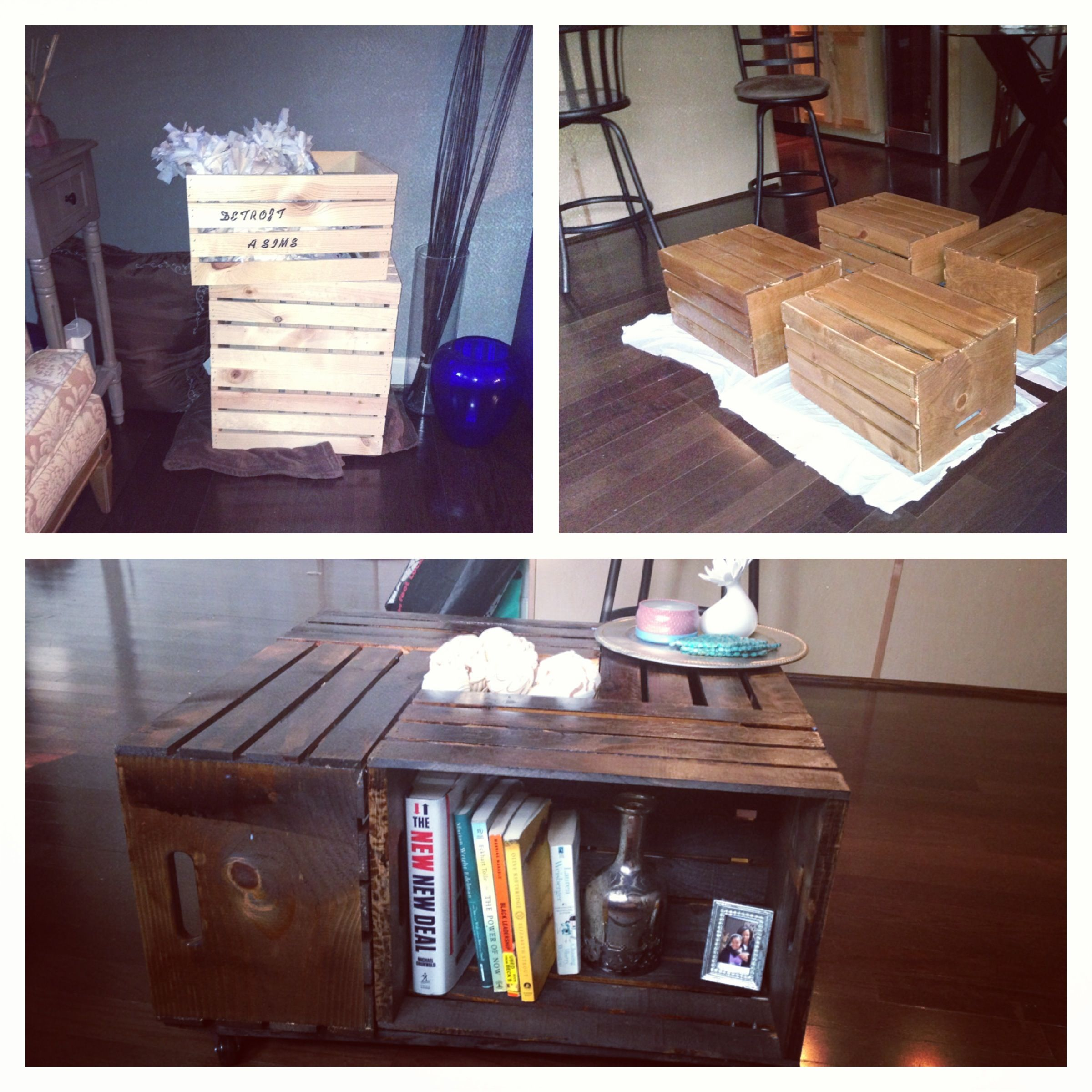 Made a coffee table out of wine crates from Michaels :) borrowed this awesome idea from DIY ...
