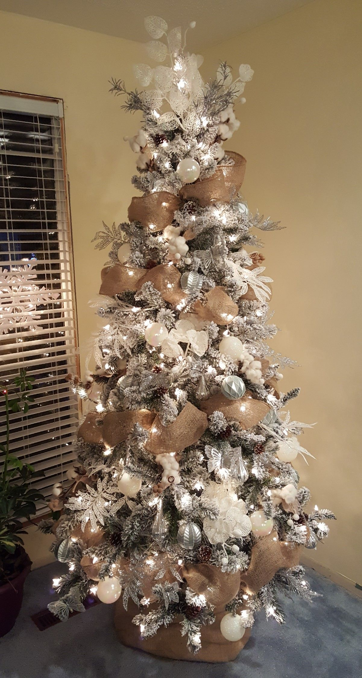 White Silver Burlap And Cotton Christmas Tree Slim Christmas Tree Burlap Christmas Tree Christmas Tree Themes