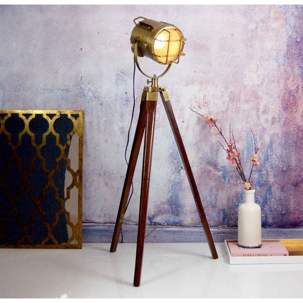 Made With Love Designs Ltd Nautical Gold Brass Standing Floor Tripod... ($365) ❤ liked on Polyvore featuring home, lighting, floor lamps, brass lighting, polished brass floor lamp, standing lights, brass standing lamp and gold lamp