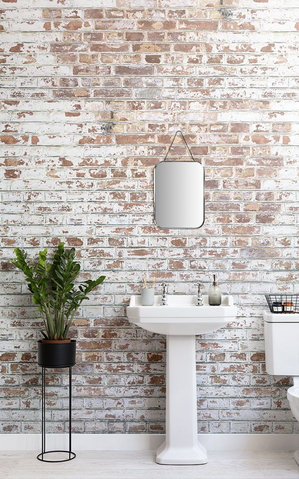 Painted White Brick Wall Mural Industrial Style Muralswallpaper In 2021 Brick Wallpaper Bathroom Brick Wallpaper Mural Brick Wallpaper