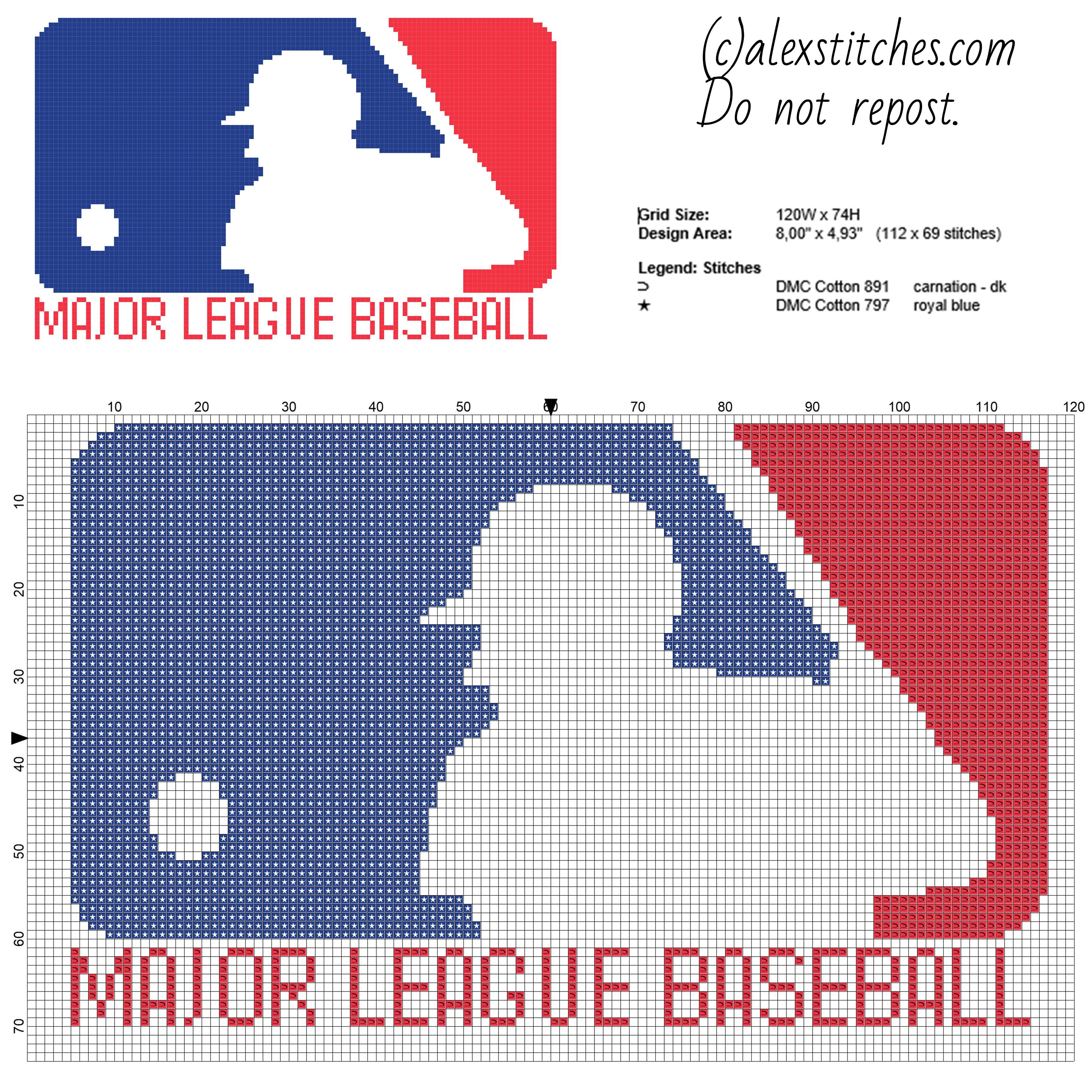 Major League Baseball logo free cross stitch pattern download 112 x ...