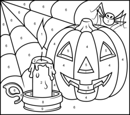 Halloween Candle - Online Color by Number Page   color by number ...