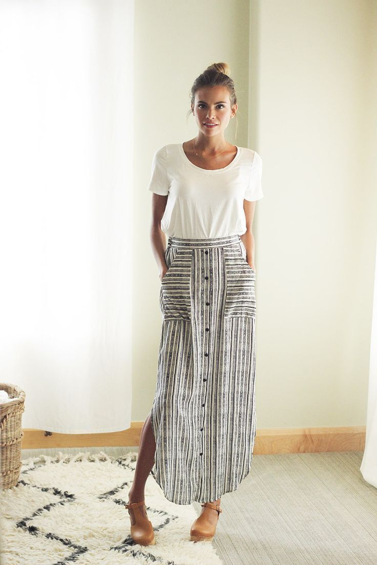 I love this entire outfit omg Striped Maxi Skirt $38