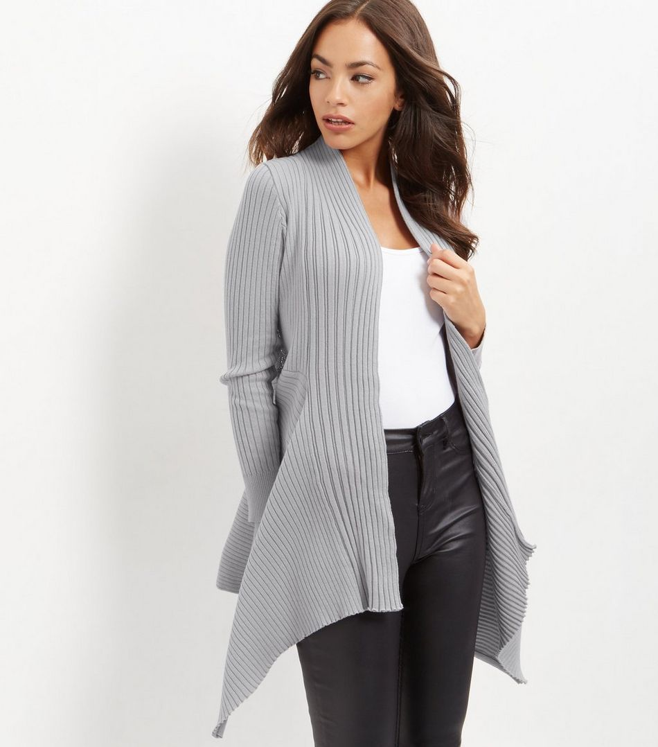 Apricot Dark Grey Ribbed Waterfall Cardigan | Dark grey, Knitwear ...