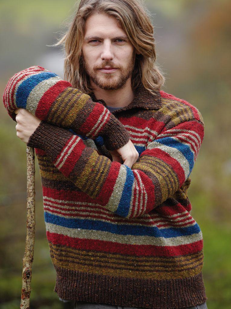 Bold Man Stripe Sweater Rowan Knitting Crochet Magazine 54
