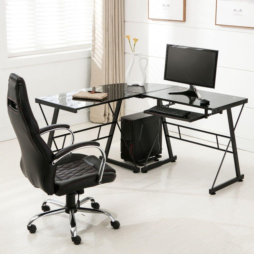 - L-Shape Glass Computer Desk PC Laptop Table Home Office Corner