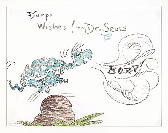 Original Dr Seuss Presentation Drawing Of Yertle The Turtle