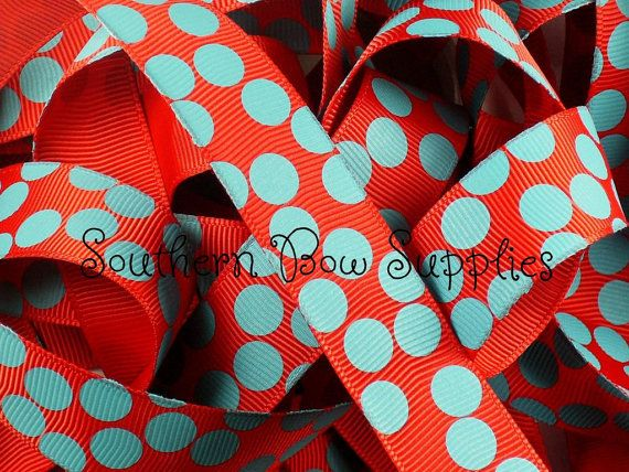 NEW ITEM---7/8 inch wide Grosgrain Ribbon---5 Yards---Silly Dots Red with Turquoise---USA Designer