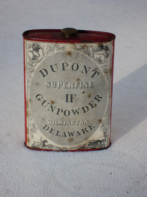 Vintage DuPont Gunpowder tin can and 1952 edition