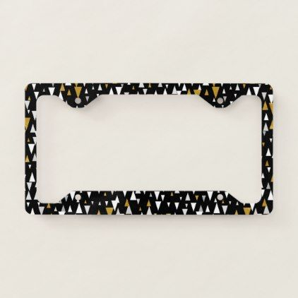 Triangle Modern Art - Black Gold License Plate Frame - black and ...