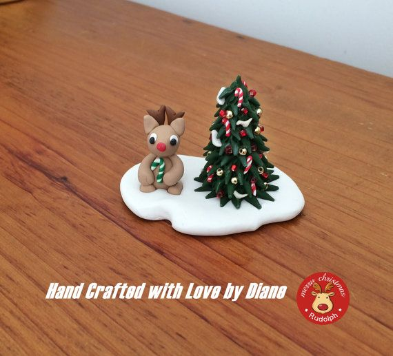 Hand Crafted Polymer Clay Miniature Decorated Christmas Tree and Mini Reindeer in Snow  Christms Figurine Holiday Decor