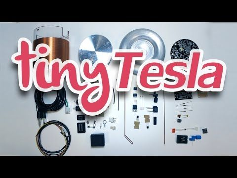 The tinyTesla Musical Tesla Coil Kit stands about six inches