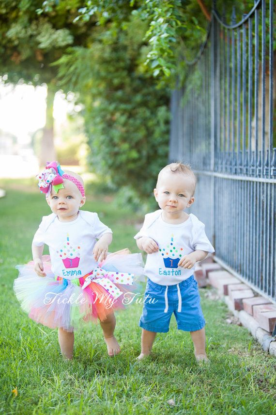 BoyGirl Twin Cupcake Birthday Outfits-Twin Cupcake Birthday Outfit-Cupcake Sprinkles Birthday Tutu Set-Twin Birthday Set *Bow NOT Included*