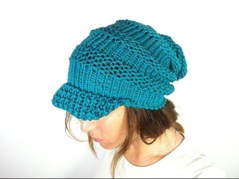dfd3b8c42e0 How to Loom Knit a Slouchy Beanie with Visor (DIY Tutorial) - YouTube