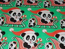 VTG CHRISTMAS WRAPPING PAPER UNUSED GIFT WRAP MCM GREEN PANDA BEAR SANTA HAT
