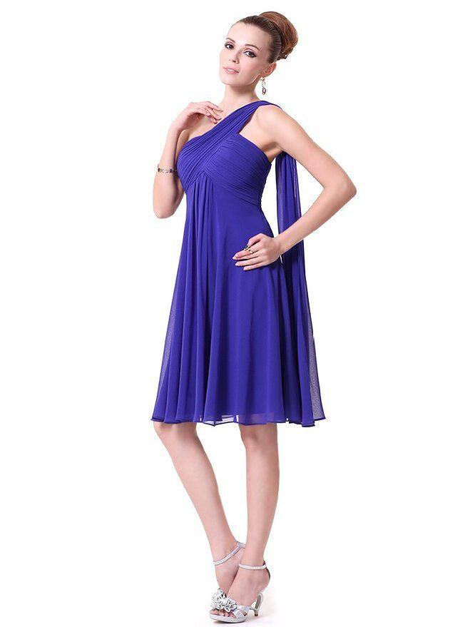 Royal Blue One-Shoulder Pleated Length Dress | YoYoMelody ...