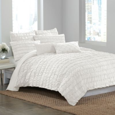 Buy Dkny Ruffle Wave Twin Duvet Cover In White From Bed Bath Beyond White Duvet Covers Duvet Covers Twin Duvet Covers