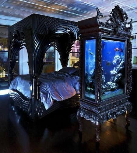 Bedroom wardrobe fish tank interior design pinterest for Fish tank bedroom ideas