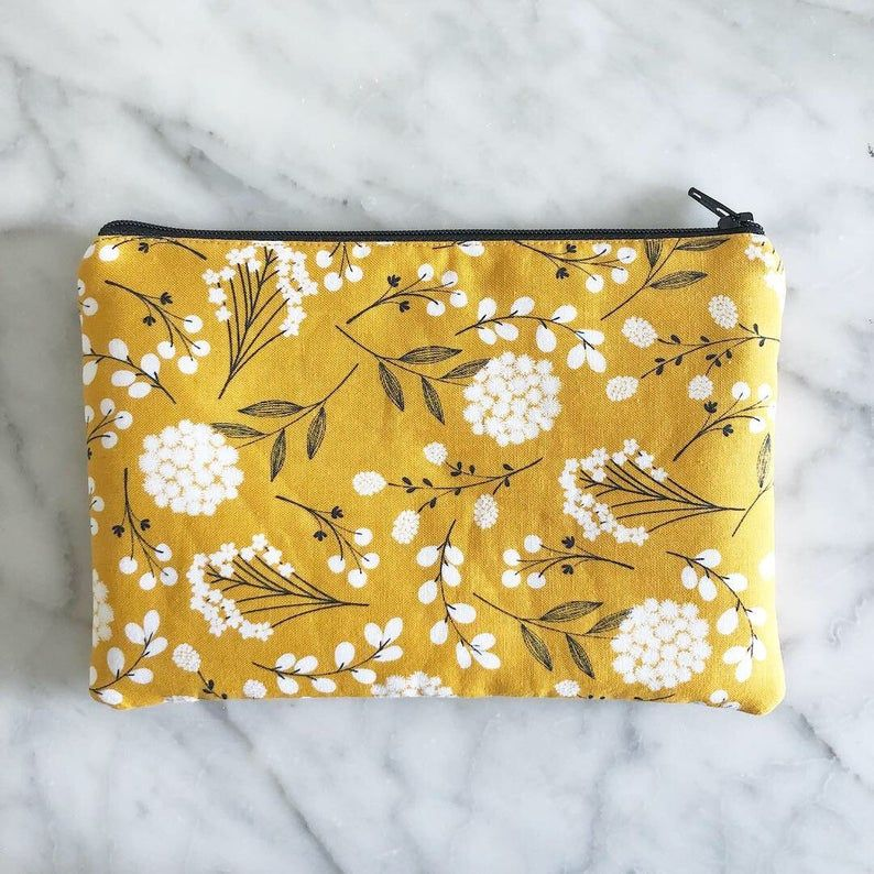 Mustard Yellow Dandelion Floral Standard Zipper Pouch
