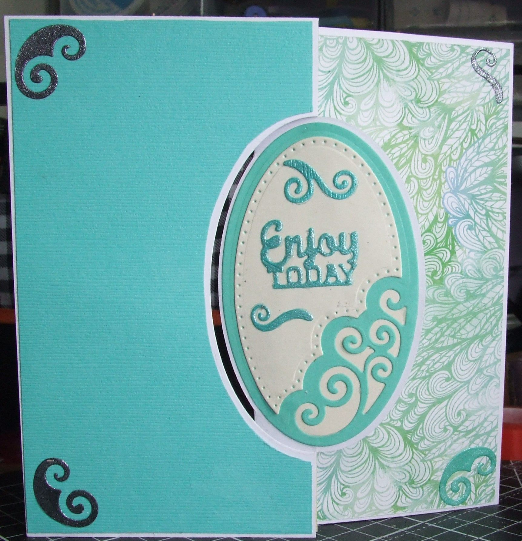 6x6 Z Card Enjoy Today In Green Aqua Card Can Be Used For A